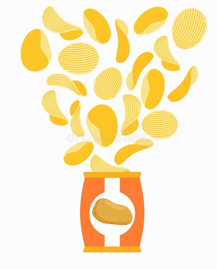 Potatischiper och packe Förpacka av chipen på vit bakgrund Sn stock illustrationer