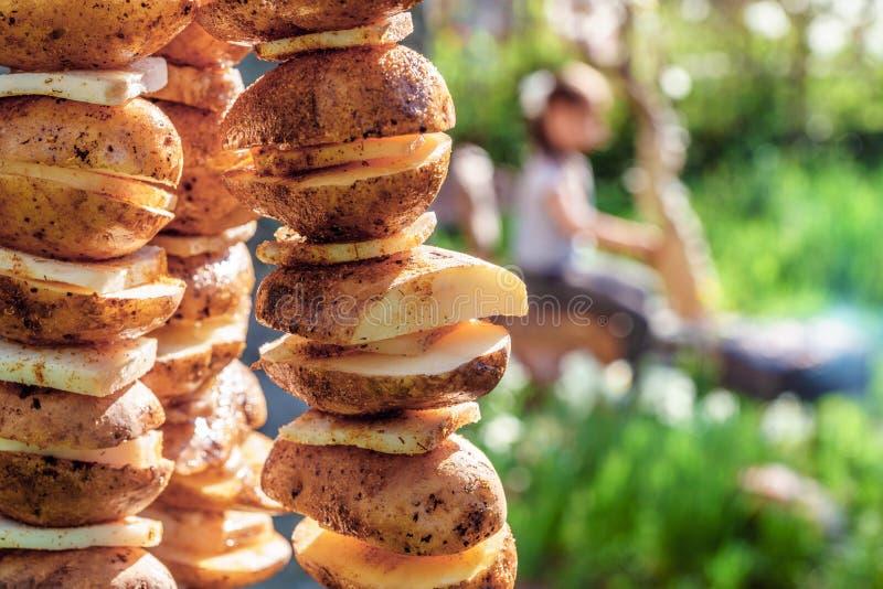 Potatisen med späcker på steknålar som är förberedda för att grilla på brand på picknicken arkivbild
