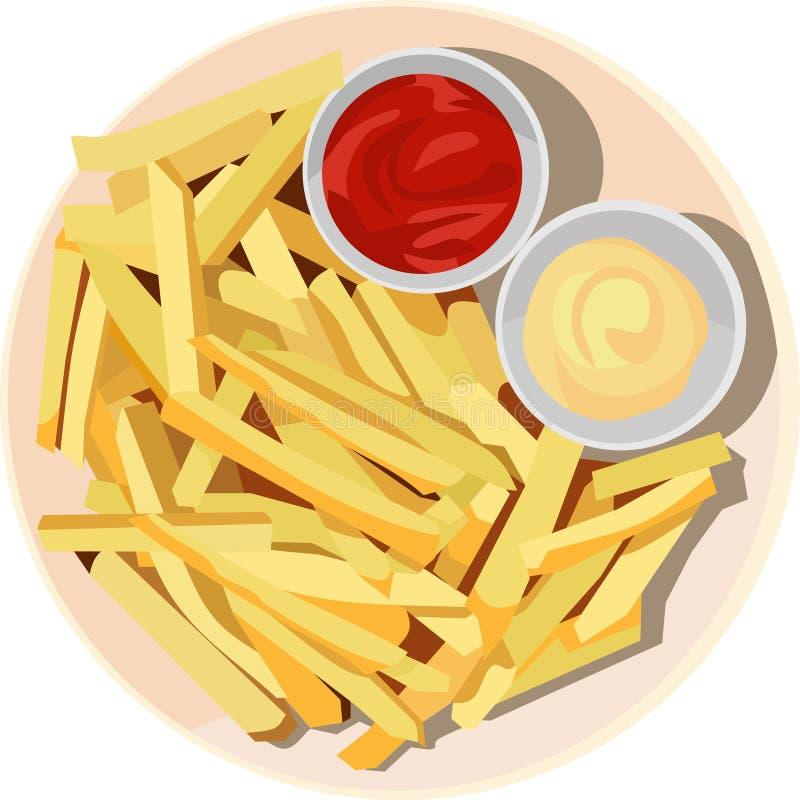 Potatisen steker mål stock illustrationer