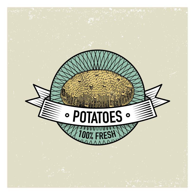 Potatistappninguppsättningen av etiketter, emblem eller logoen för vegeterian mat, inristade grönsaker räcker utdraget eller retr stock illustrationer