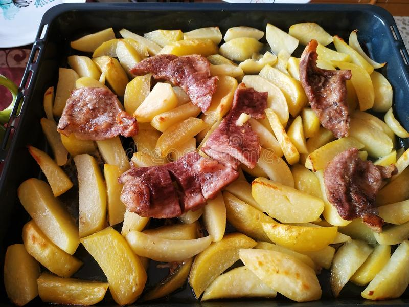 Potato With Baked Meat. In Spain Andalucia stock photo