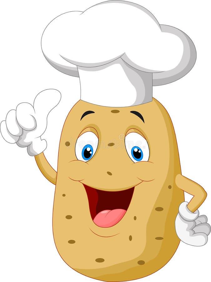 Potato chef cartoon giving thumb up. Illustration of Potato chef cartoon giving thumb up stock illustration