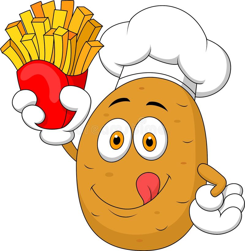 Potato Chef cartoon Holding Up A French Fries stock illustration
