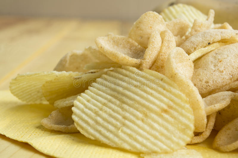 Potato chip fat cholesterol salted junk fast food concept stock image