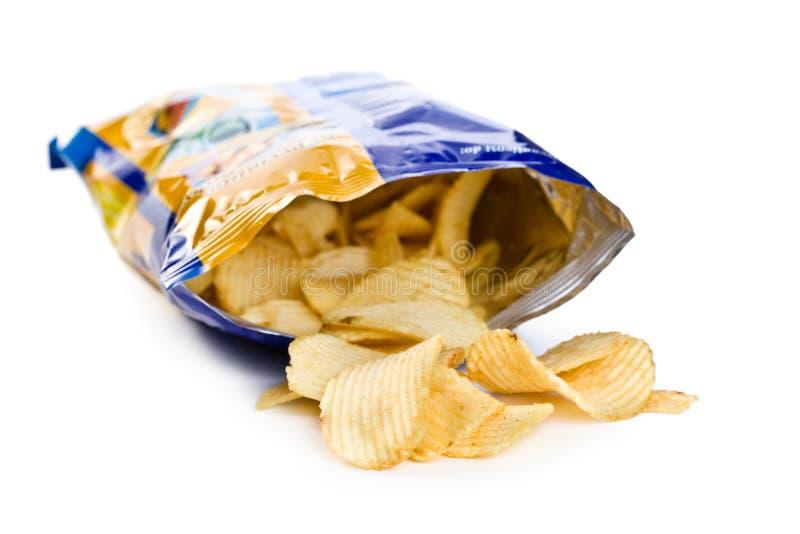 Potato chips in bag stock photo