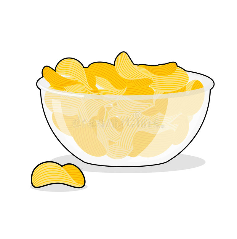 Potato Chips in bowl. Fried potatoes in deep transparent plate. Delicious yellow snack royalty free illustration