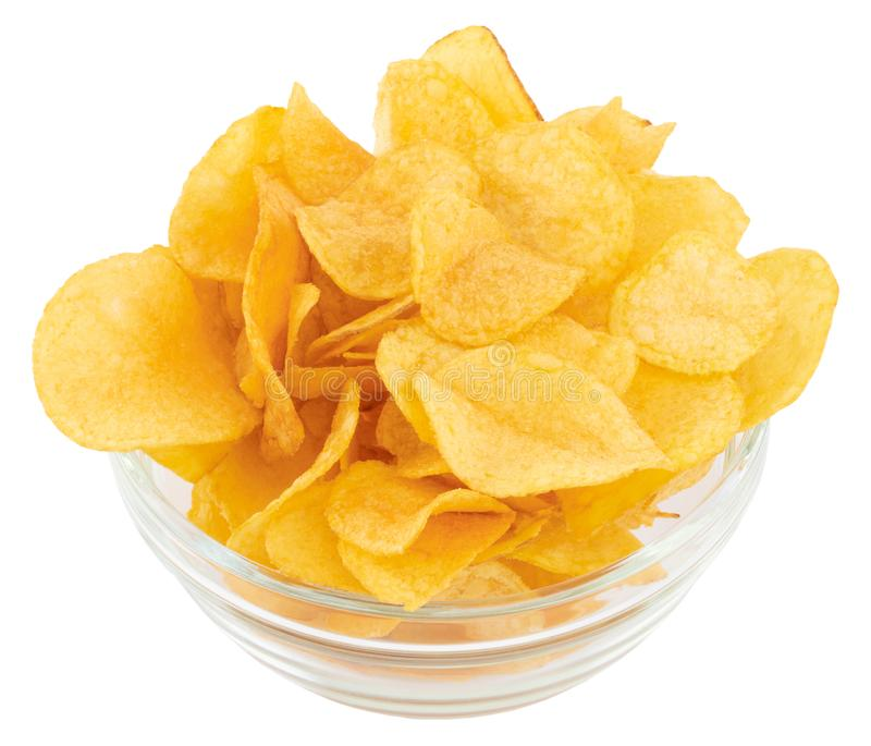 Potato chips bowl isolated on white background, with clipping path stock photos
