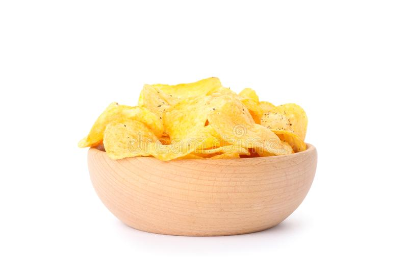 Potato chips in a bowl isolated on white background. Space for text royalty free stock images