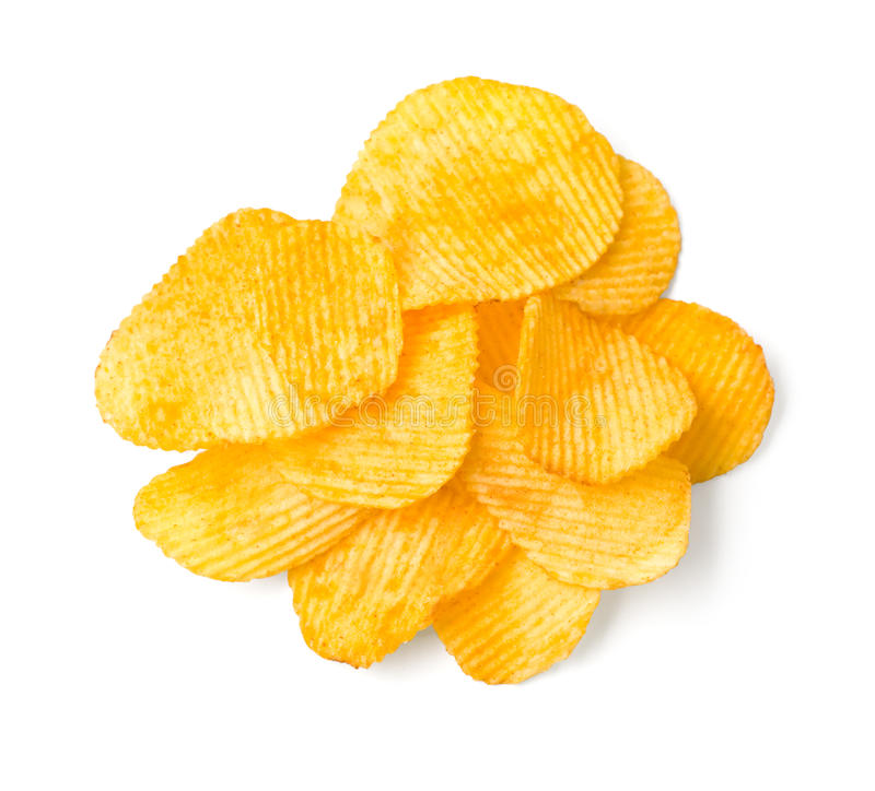 Potato chips. Delicious potato chips isolated on white. With clipping path stock image