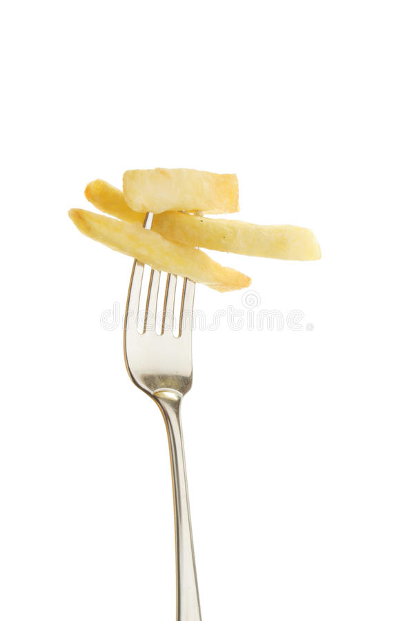 Potato chips on a fork stock photo