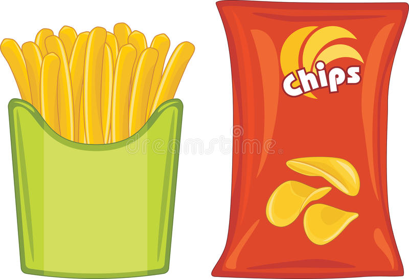 Potato chips and french fries royalty free stock photos