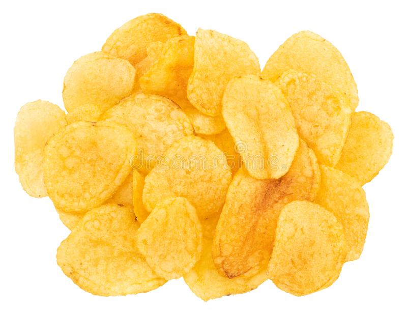 Potato chips isolated on white background. Top view royalty free stock photos