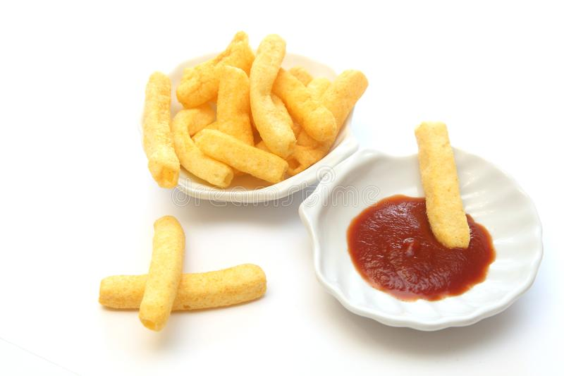 chips and ketchup stock images