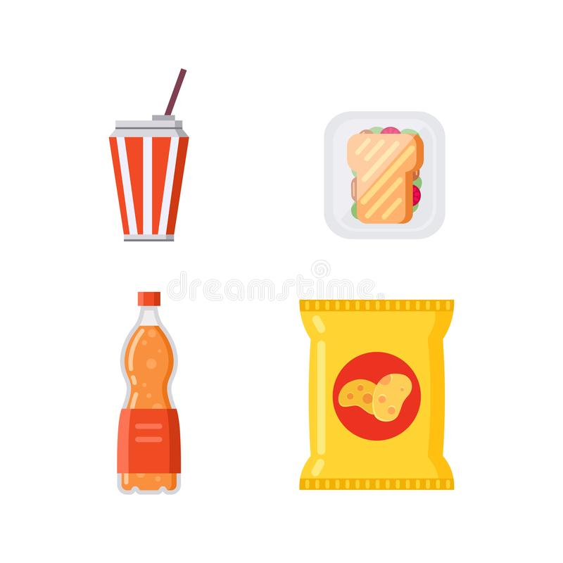 Free Potato Chips Pack Bag And Soda Drinks Collection Vector Illustration. Royalty Free Stock Images - 165621319