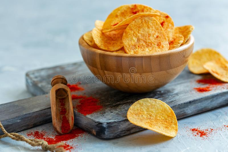 Potato chips with paprika. stock photo