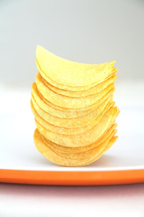 Potato chips stacked royalty free stock images