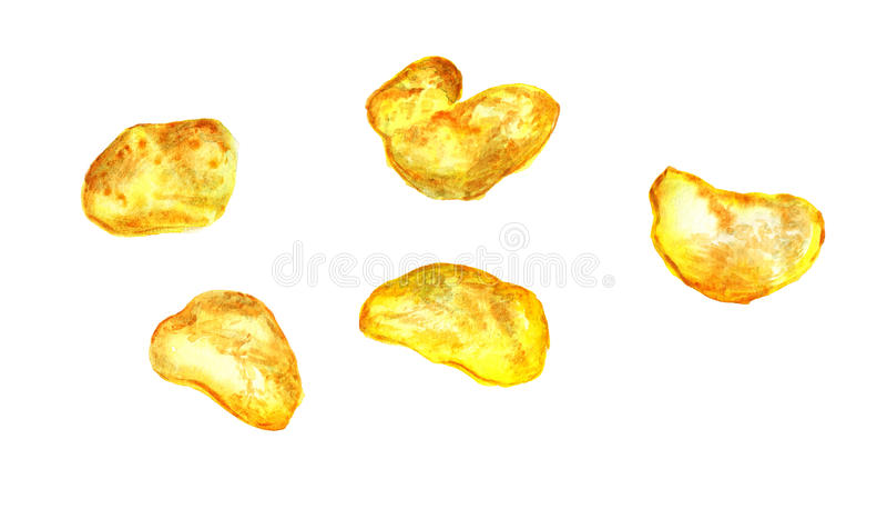 Potato chips. Watercolor image of potato chips on white background stock illustration