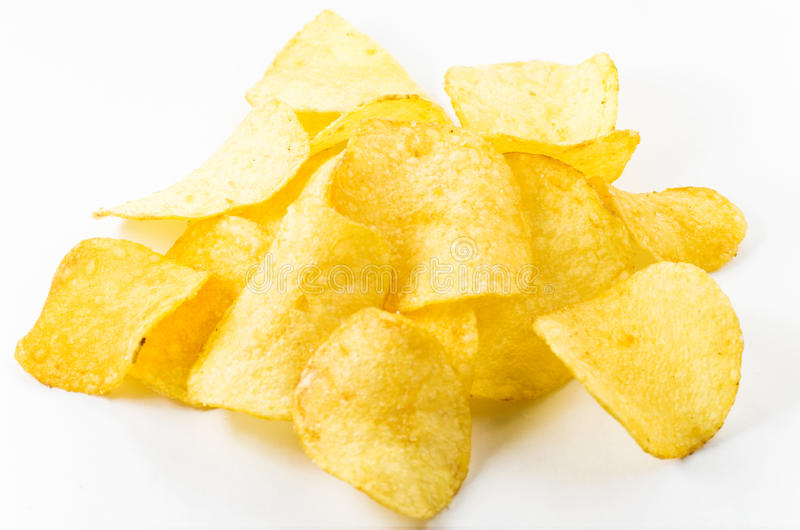 Potato chips. On a white background royalty free stock photo