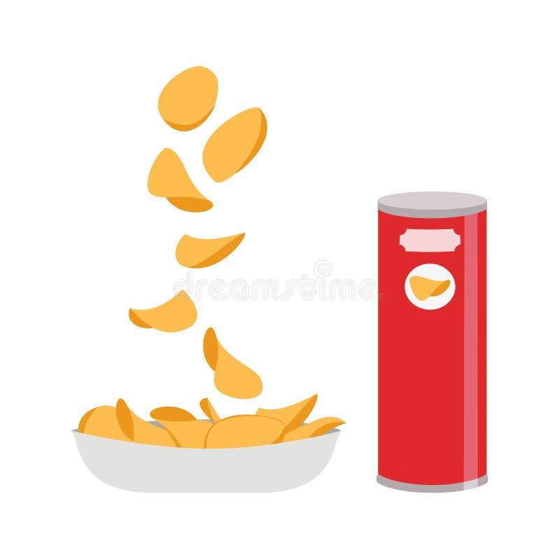 Potato chips on white background. vector illustration