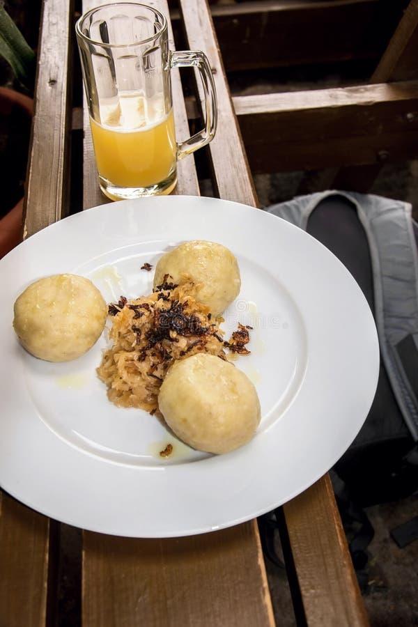 Potato dumplings stuffed with smoked meat royalty free stock photography