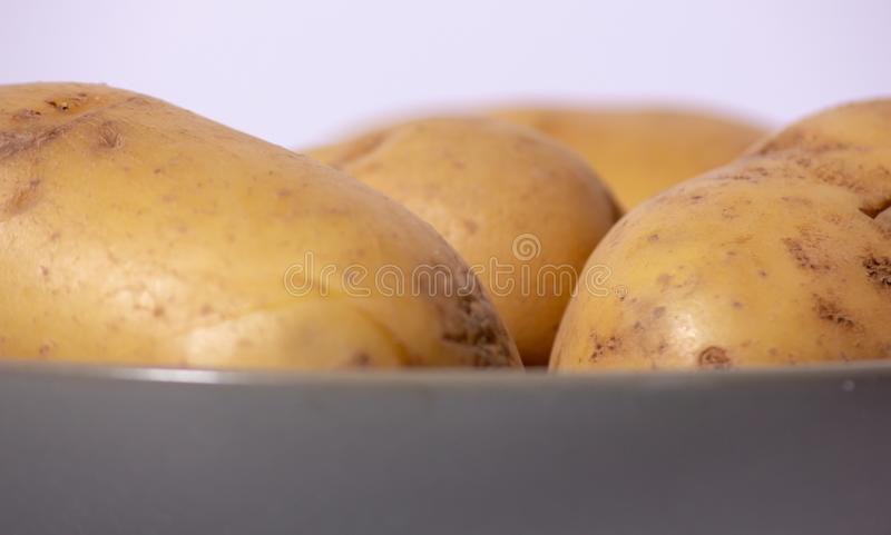 The potato is an edible tuber obtained from the plants of the species Solanum tuberosum, widely used for food purposes after cook royalty free stock images