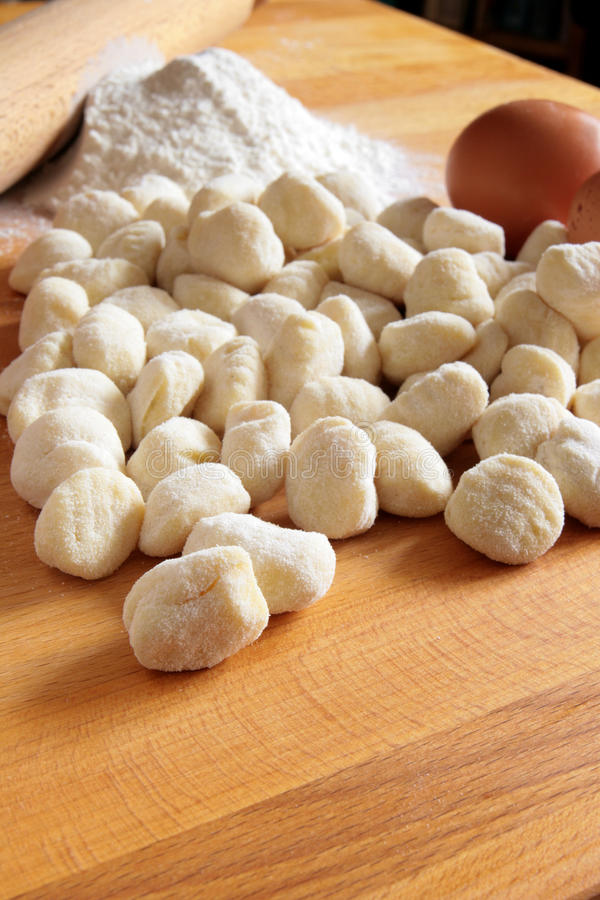 Potato gnocchi ingredients royalty free stock image