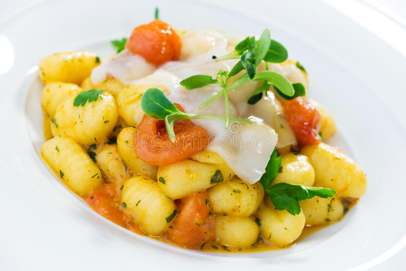 Potato Gnocchi with Lardo royalty free stock images