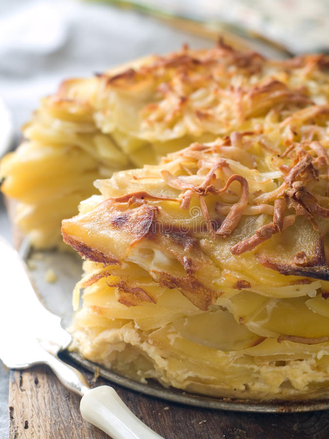 Potato gratin. With cheese on plate, selective focus stock images