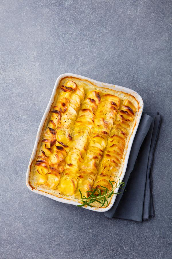 Potato gratin, backed potato slices with creamy sauce. Top view. royalty free stock images