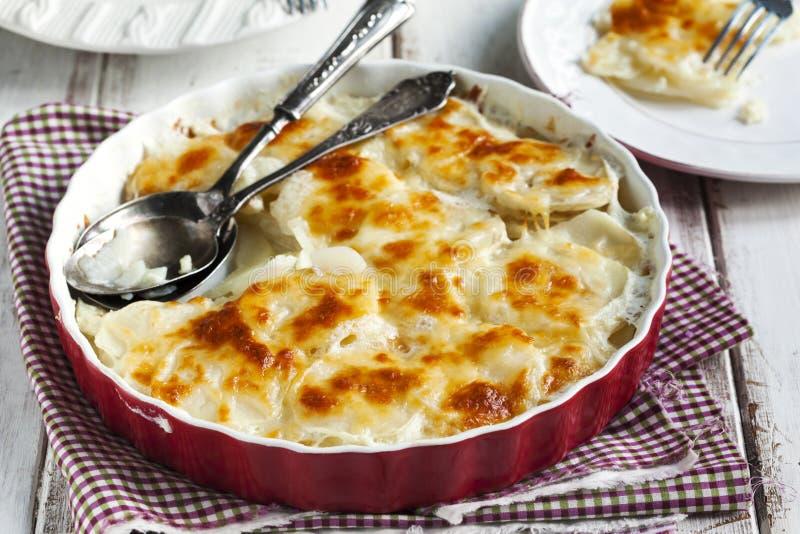 Potato gratin. In baking dish royalty free stock photo