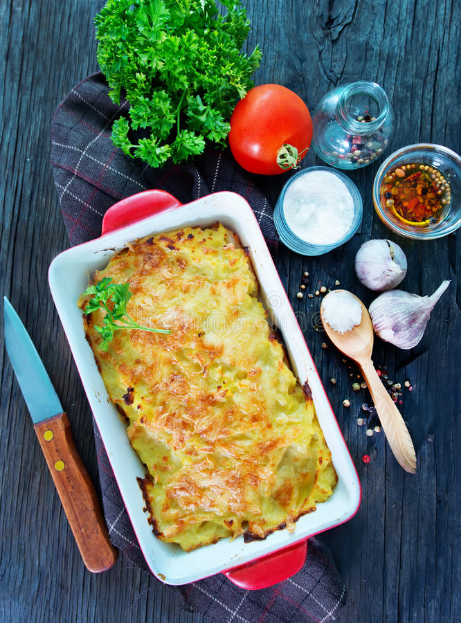Potato gratin. With cheese on a table royalty free stock images