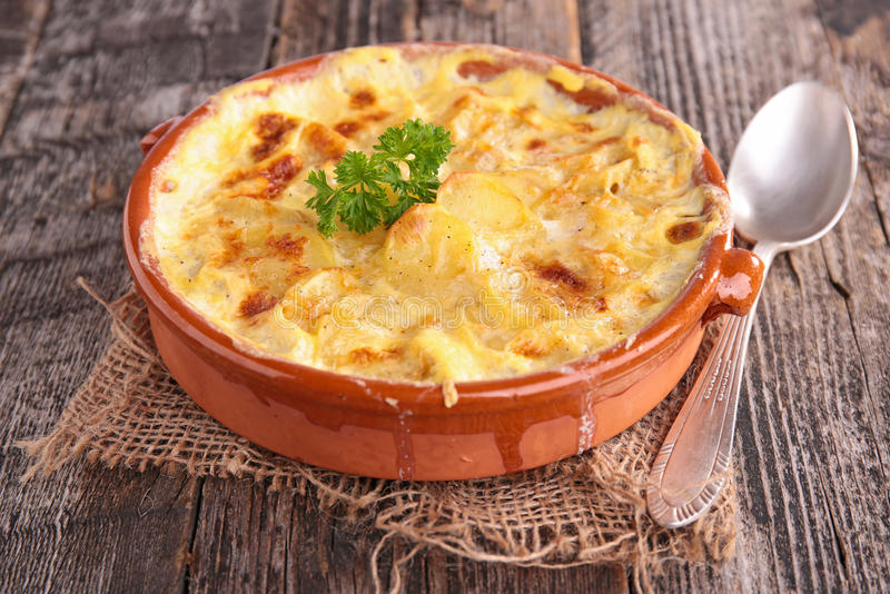 Potato gratin. Close up on potato gratin stock images