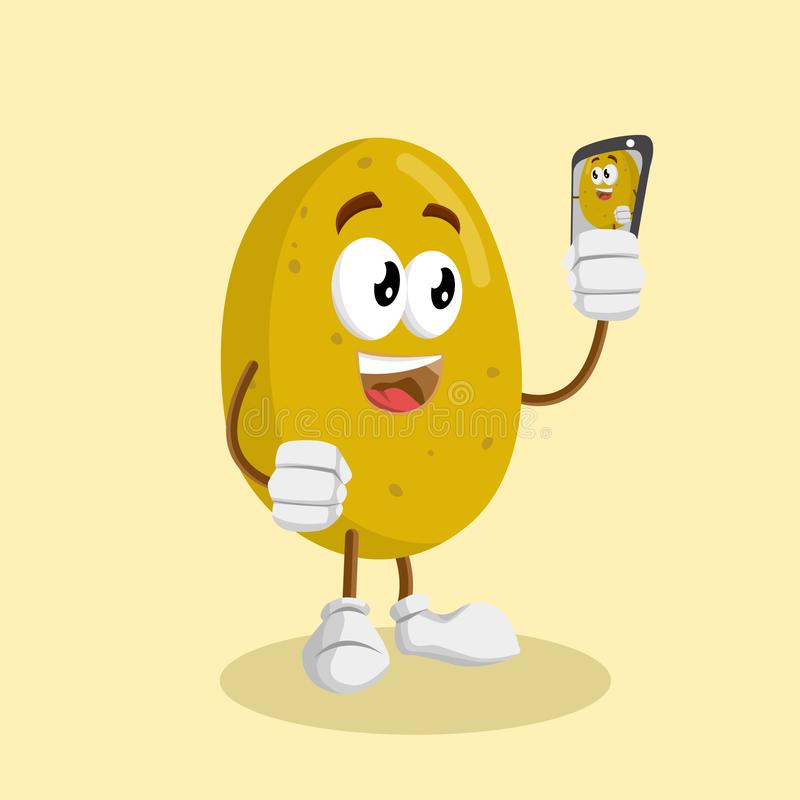 Potato mascot and background with selfie pose royalty free illustration