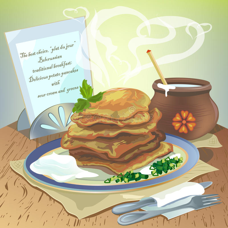 Potato pancakes. With sour cream and greens royalty free illustration