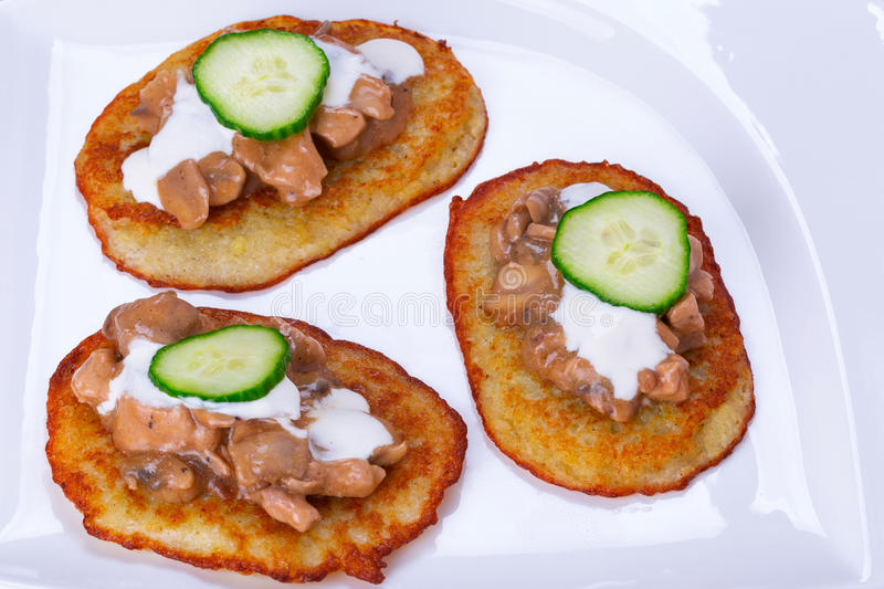 Download Potato Pancakes With Chicken And Mushrooms Sauce Stock Photo - Image: 35357356
