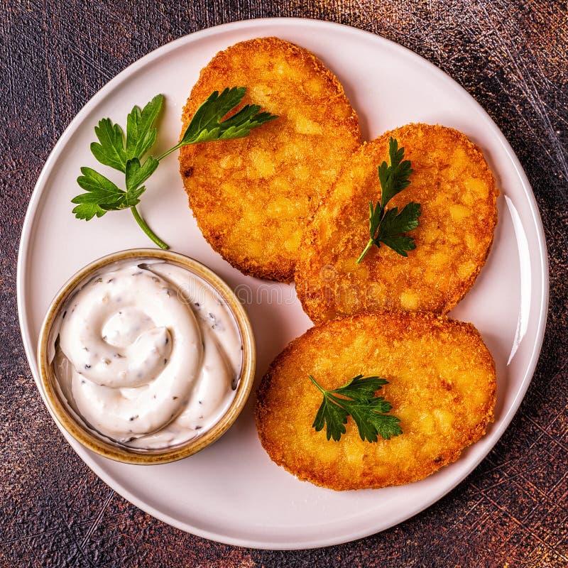 Potato pancakes, hash braun. royalty free stock photo