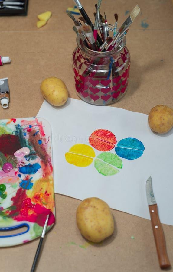 Potato printing artwork scene royalty free stock photos