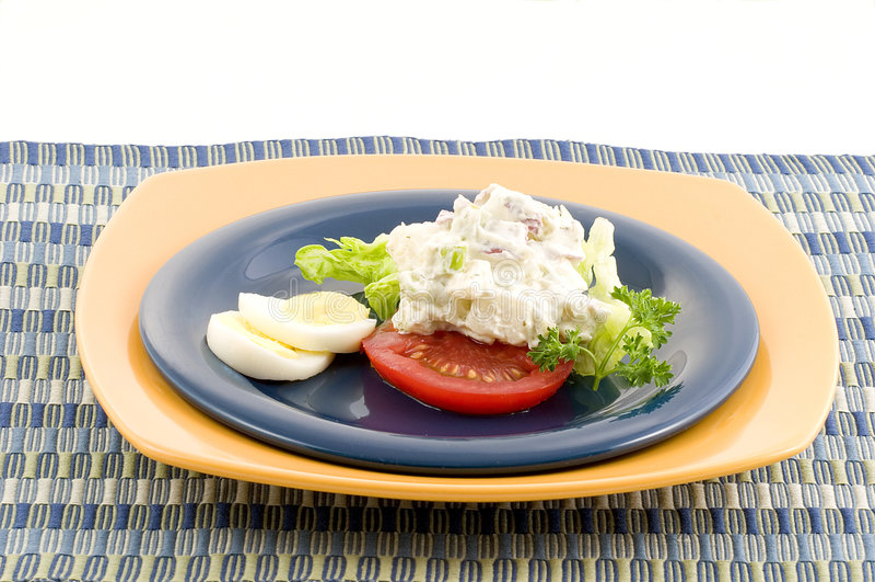 Potato salad with egg royalty free stock photography