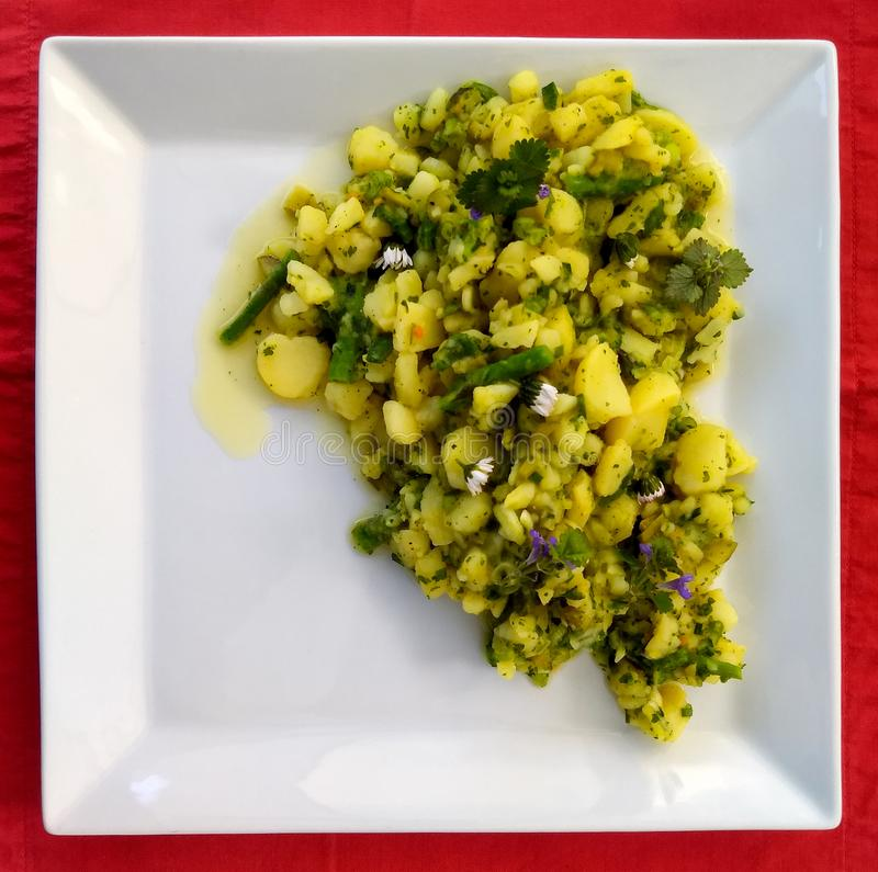 Potato salad on a white plate stock photography