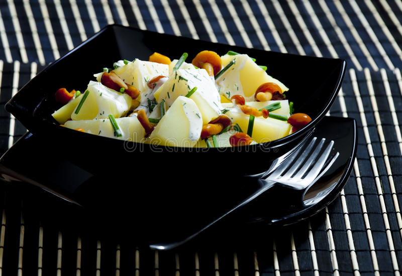Potato salad with mushrooms stock photography