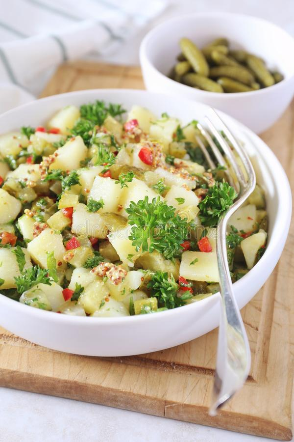 Potato salad with pickled cucumbers, parsley and mustard sauce stock photography