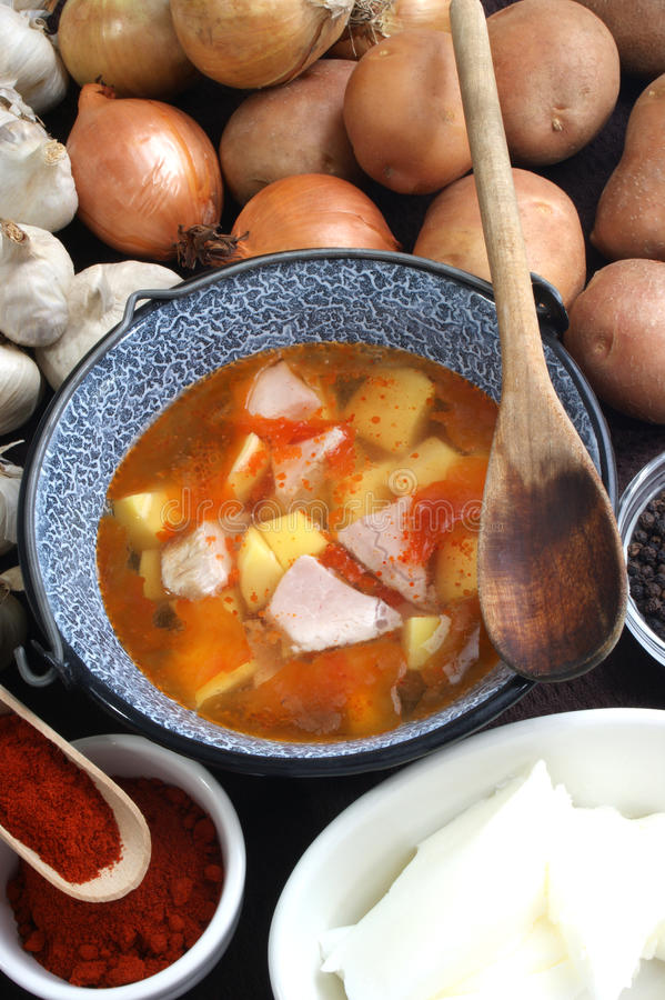 potato soup with pork in a pot stock image