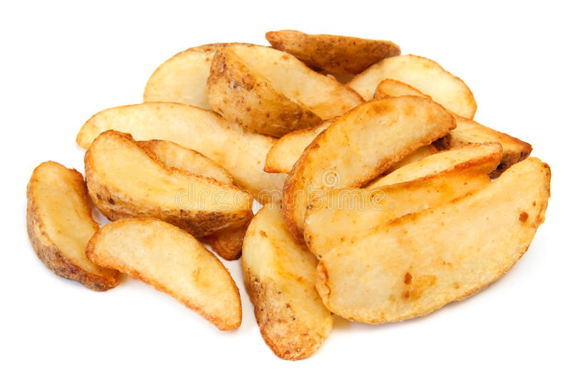 Potato Wedges. Straight from the oven, ready to eat. Isolated on white stock image