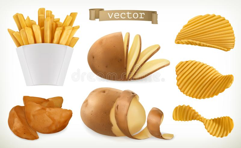 Potato, wedges and fry chips. Vegetable. vector icon set vector illustration