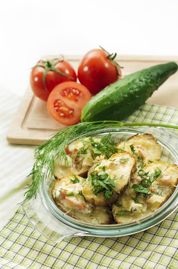 Potatoes baked with cheese #1 stock photography