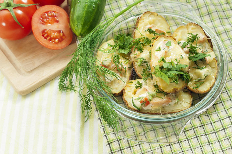 Potatoes baked with cheese royalty free stock photos