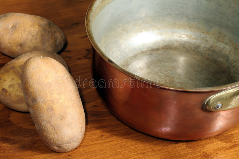 Download Potatoes And Copper Cooking Pot Stock Image - Image: 1715861