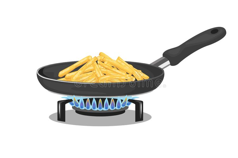 Potatoes French Fries. Frying pan on gas stove isolated on white background. Vector illustration of homemade food in cartoon simple flat style vector illustration