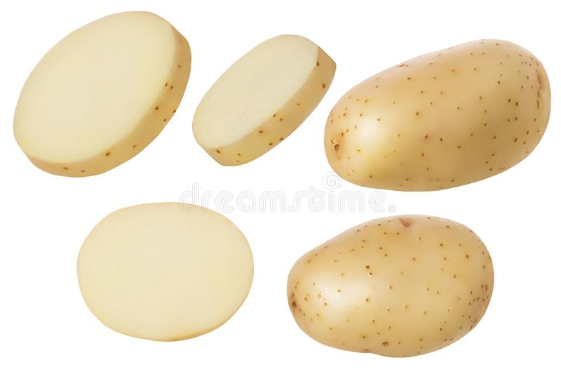 Potatoes fresh raw whole and slice isolated on white background with clipping path. Set or group of potato parts for package. Design,close up royalty free stock photography