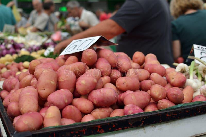 Potatoes on Market Stand stock photos